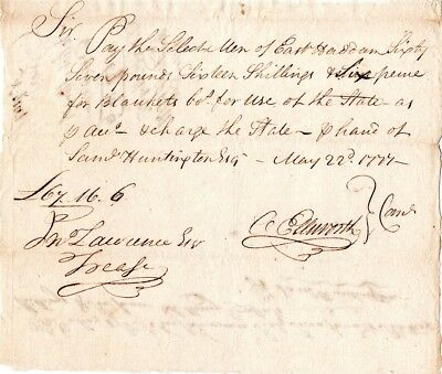1777, East Haddam, CT.,  Oliver Ellsworth, signed, blankets supplied to troops