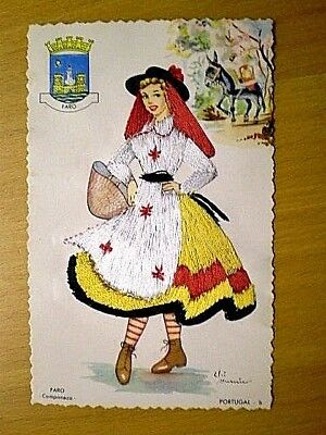 Embroidery Postcard portugal  Women  Costume PC
