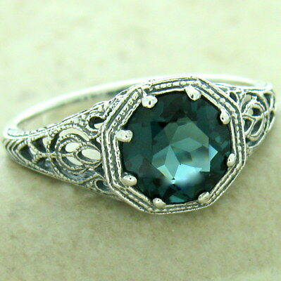 Art Deco Antique Finish 925 Silver London Blue Sim Topaz Ring Size 7,     #1174