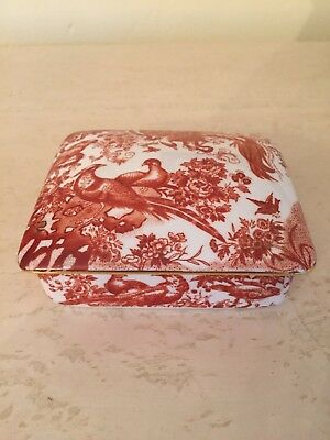 Royal Crown Derby Red Aves Xxx Bone China Covered Trinket Dish Gold Rim