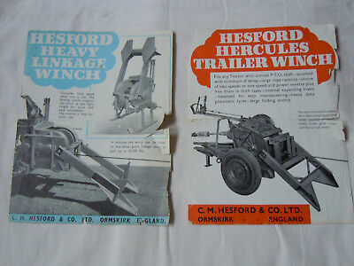 @Vintage Hesford Hercules Trailer Winch & Heavy Linkage Winch Spec Sheets@