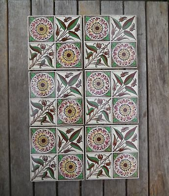 Antique Original Sunflower & Bullrush W Morris? Fireplace Tiles x 6 c1880's