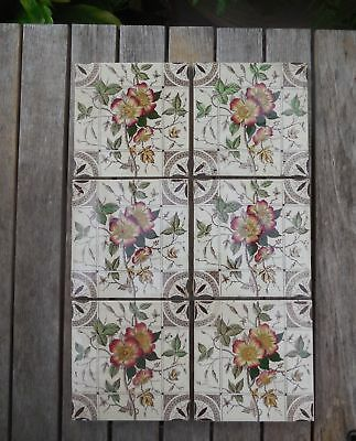 Antique Original Aesthetic Rambling Rose T G Booth Fireplace Tiles x 6 c1885