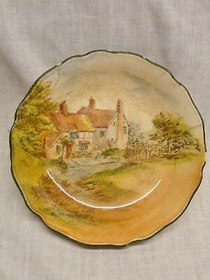 antique dish royal doulton 1930s cottage scene art deco dish well used display