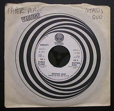 "Status Quo Paper Plane 7"" Swirl Label - Large Centre Hole Uk"