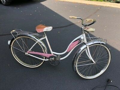 Vintage Schwinn Debutante Bicycle, Pink & White with original parts.