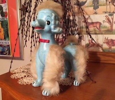 "Vintage 1950s ... BLUE...Poodle Dog Porcelain Figurine... with Fur  7"" tall"