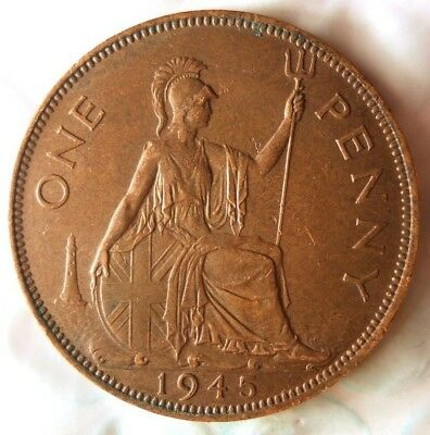 1945 GREAT BRITAIN PENNY - Excellent Vintage Coin -Free Ship - Britain Bin #B