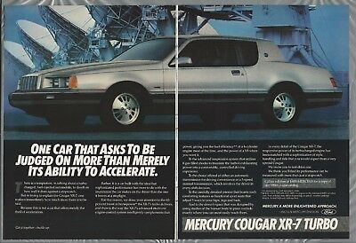 1984 MERCURY COUGAR XR-7 2-page advertisement, silver 2-door Cougar Mercury ad