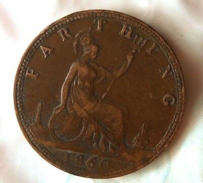1860 GREAT BRITAIN FARTHING - Excellent Vintage Coin -Free Ship - Britain Bin #B