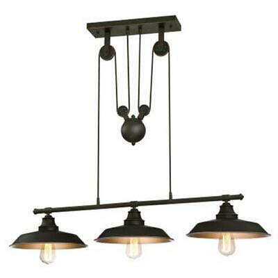 WestinghouseLighting 6332500 3 Light Iron Hill Indoor Island Pulley Pendant