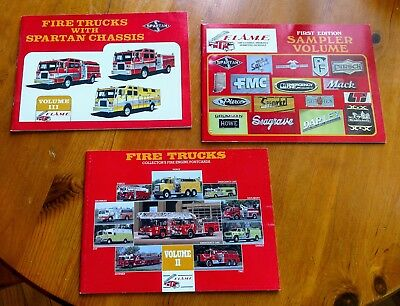 Three 3 Volumes Flame Fire Engine Truck Post Card Books Perforated Postcards