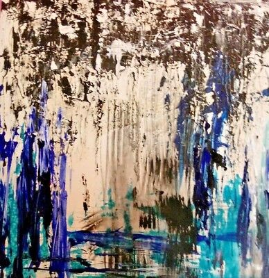 Original  Abstract Expressionism Painting with Blue Black & White Texture Signed