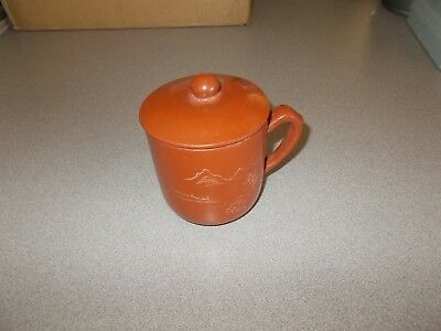 Antique handcrafted Oriental smooth red clay pottery etched art cup with lid