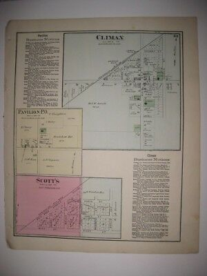 Antique 1873 Climax Pavilion Scotts Kalamazoo County Michigan Handcolored Map Nr
