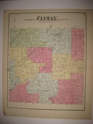 Antique 1873 Climax Township Kalamazoo County Michigan Handcolored Map Superb Nr