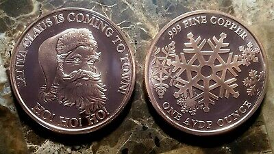 Santa Claus is Coming to Town 1oz. Pure Copper Bullion Round!!
