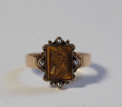 Antique 19thC Victorian 10k Gold Carved Tigers Eye Cameo w/ Seed Pearls Size 7.5