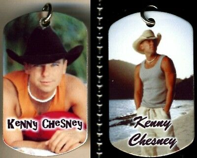 "Kenny Chesney Country Music Color Photo Aluminum Dog Tag Necklace 30"" chain NEW"