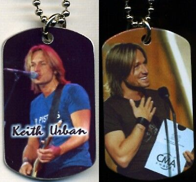 "Keith Urban Country Music Color Photo Aluminum Dog Tag Necklace w/30"" chain NEW"
