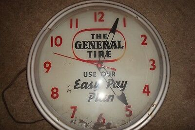Vintage General Tire Electric Clock Wall       Works