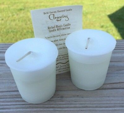 2 Spirit Cleansing Reiki Candles Crystal Journey Candles Herbal Magic Votive
