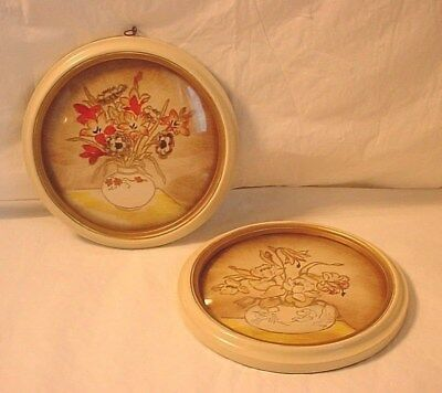 Vtg 1930s Lacquer Pictures 7 Inches Round w Curved Glass Floral Bouquet Lot of 2
