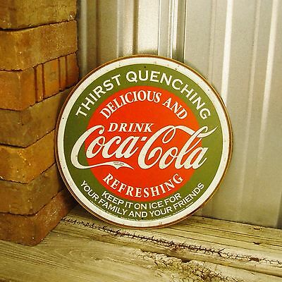 """Drink Coca-Cola Coke Red Green Delicious Round 12"""" Metal Tin Sign Vintage Bar"""