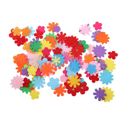 100pcs Mixed Colors Flower Shape Die Cut Felt Cardmaking Decoration 20-33mm