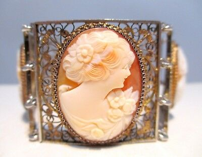GORGEOUS Antique SHELL CAMEO 800 Gilt Silver XF FILIGREE *WIDE* Panel BRACELET
