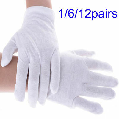 Provided White Inspection Cotton Lisle 12 Pair 1dz Work Gloves Coins Jewelry Lightweight Coins & Paper Money