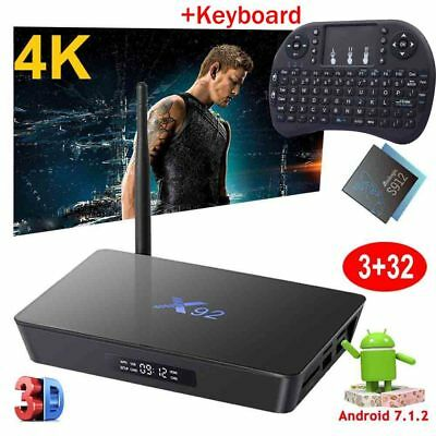 X92 3GB+32GB Octa Core Android 7.1.2 TV BOX 4K Movies Dual WIFI HDMI +Keyboard