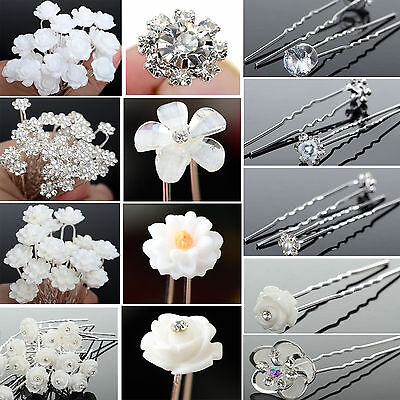 20/40Pcs Wedding Bridal Rhinestone Crystal Bling Pearl Rose Flower Hair Pin Clip