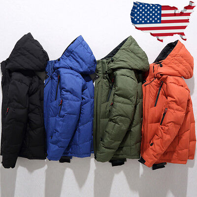 Mens Winter Warm Duck Down Jacket Ski Jacket Snow Hooded Coat Climbing Outerwear
