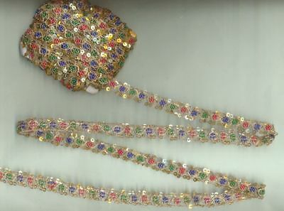 VTG Hand Embroided 1000's Tiny Glass Sequins Beaded 7 Yard Golden Zari Lace Trim