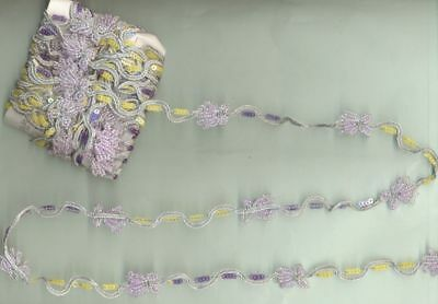 MANY APPLIQUES SEQUINS GLASS BEADED HAND EMB 6 Yard Long Silver Zari LACE TRIM