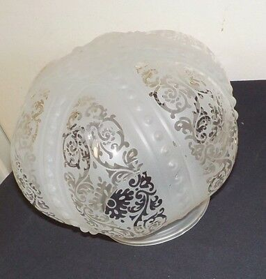Old  ETCHED Clear Glass  LAMP OR CEILING SHADE