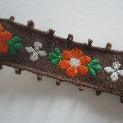 100cm Brown & Orange Daisy Cotton Sewing Trim Vintage 1960s Craft by the metre