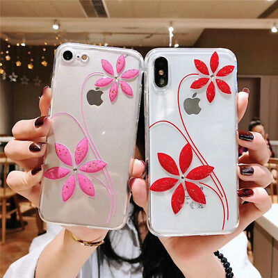 For iPhone 6 7 Plus X Soft TPU 3D Flower Clear Phone Case Back Cover Shockproof