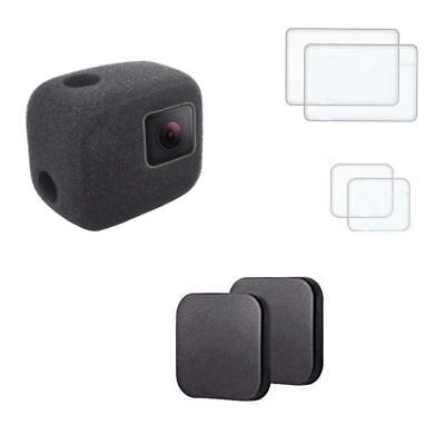 Windshield Foam WindSlayer for Gopro Hero 7 6 5 Case + Lens Protector Cap Cover