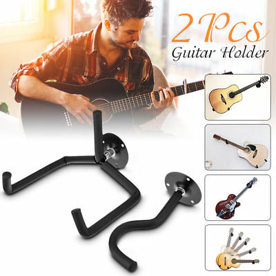 2X Horizontal Separated Guitar Wall Mount Hanger Stand Holder Hook Display Bass