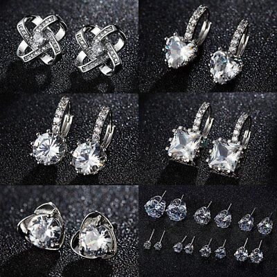 925 Sterling Silver Zircon Stud Earrings Womens Jewellery Wedding Party Gift