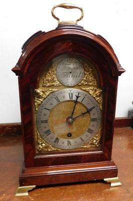 small mahogany cased triple pad top fusee bracket clock