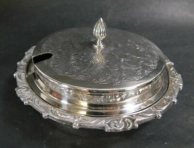 Vintage Silver Plated Butter/Jam Dish With Glass Lining And Lid