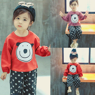 Baby Clothes Kids Girls Long Sleeve Tops+Pants Set Outfits Autumn Clothing Dot