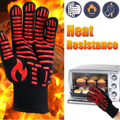 500℃ Heat Resistant Gloves BBQ Oven Pot Holder Grill Cooking Baking Work Mitt