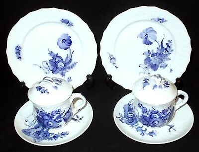TWO Royal Copenhagen BLUE FLOWER Covered Chocolate Pots, Saucers & Side Plates