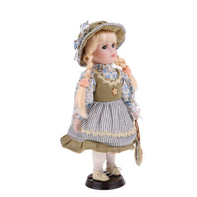 30cm Victorian Porcelain Doll with Gray Princess Clothes Home Display Decor
