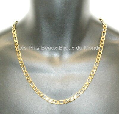 Collier HOMME CHAINE Maille FIGARO 7,5mm ACIER Inoxydable Plaqué OR