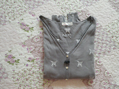 Gilet femme ODD MOLLY UNCORPORATED T 3 40 42 coton gris papillons blancs